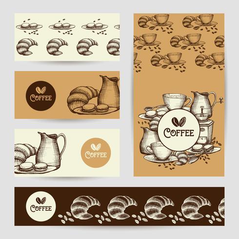 Kaffe vintage banners komposition poster vektor