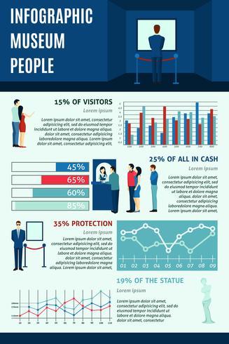 Infografiska personer som besöker museer vektor