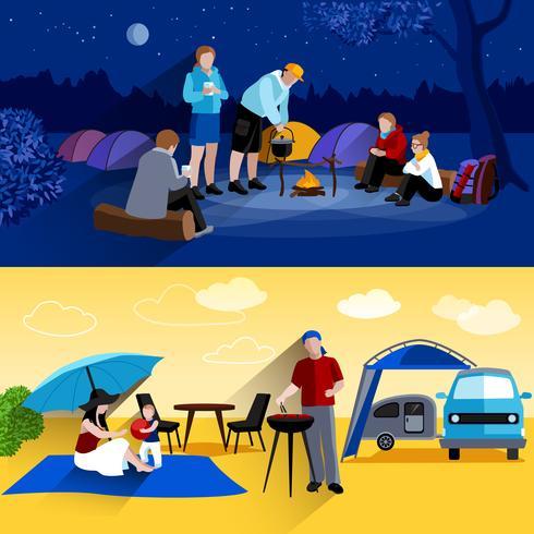 Camping Banners Set vektor