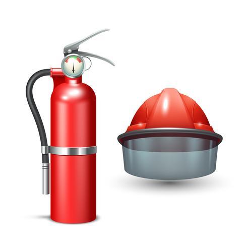 Feuerwehrmann Helm und Feuerlöscher vektor