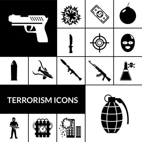 Terrorismus-Ikonen schwarz vektor