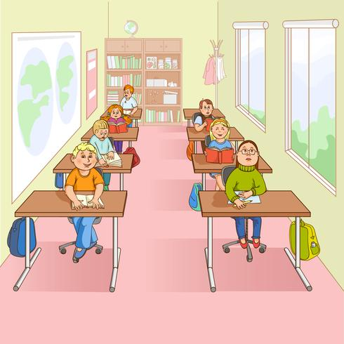 Kinder in der Schulkarikatur-Illustration vektor