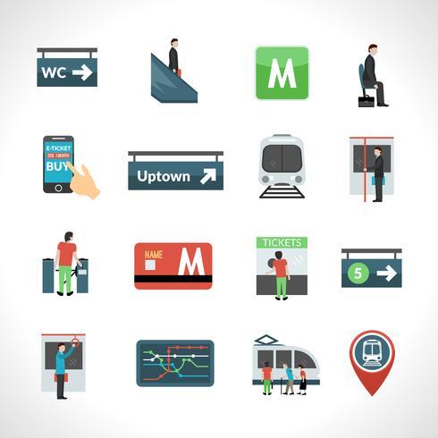 U-Bahn-Icons gesetzt vektor
