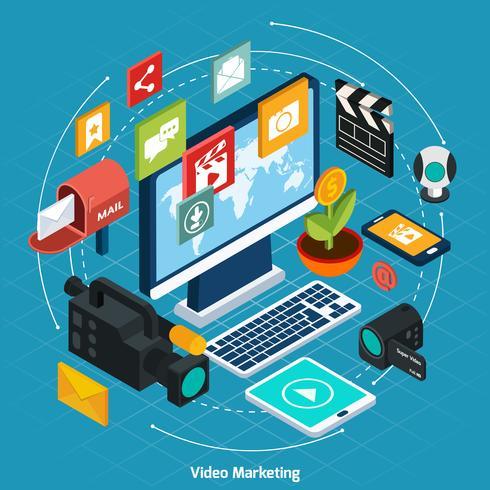 video marknadsföring isometrisk koncept vektor
