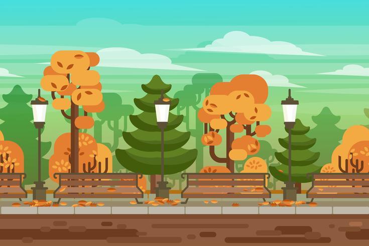 Herbstlandschaftsparkhintergrund des Spiels nahtloser vektor