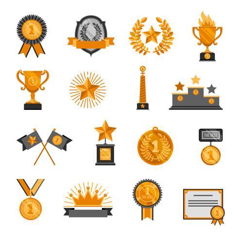 Trophäe und Auszeichnungen Icons Set vektor