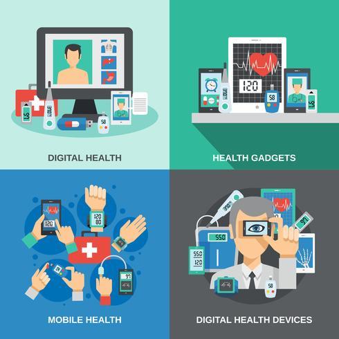 digital hälsouppsättning vektor