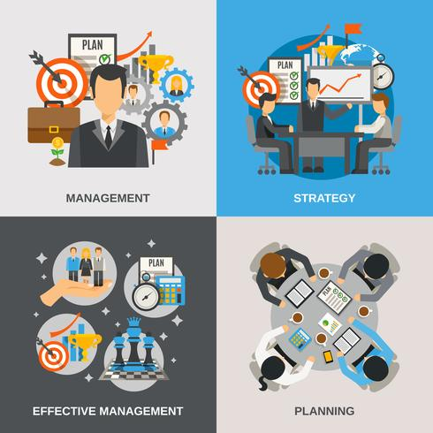 förvaltning platt uppsättning vektor