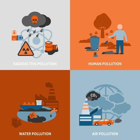 Umweltprobleme Icons Set vektor