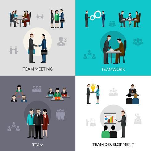Teamarbeit-Ikonen eingestellt vektor
