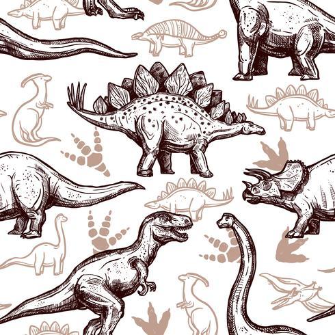 Dinosaurs fotspår sömlösa mönster tvåfärgade klotter vektor