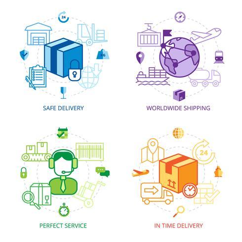 Logistik Design Line Icons Set vektor