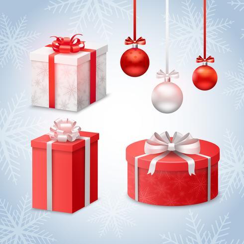 Weihnachtskugeln und Geschenkboxen vektor