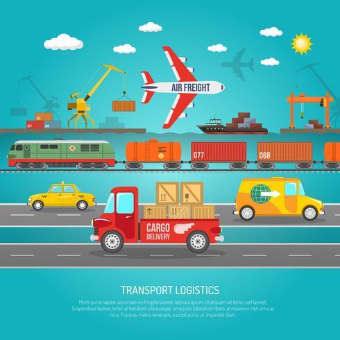 Logistik transport detaljer platt affischtryck vektor