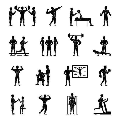 tränare vit och svart uppsättning vektor