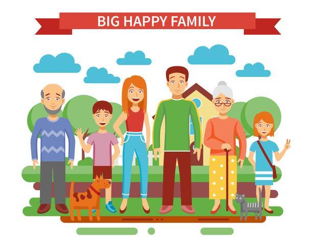 Stor familjillustration vektor
