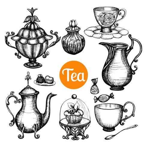 Handgezeichnete Retro Tee-Set vektor