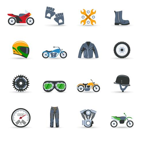 Motorcykel ikoner Set vektor