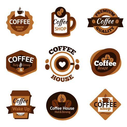 Kaffee-Etiketten-Set vektor
