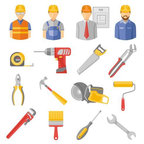 Flache Ikonen der Bauarbeiterwerkzeuge eingestellt vektor