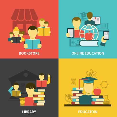 Utbildning läsa platt ikoner kvadrat banner vektor