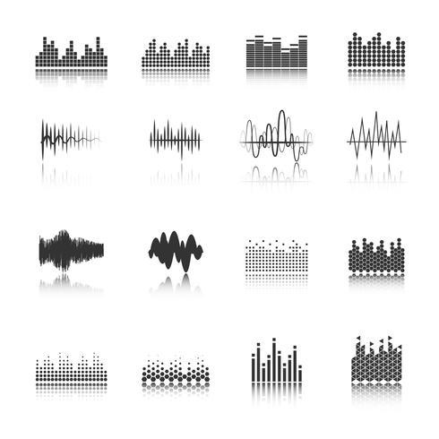 Equalizer black icons set vektor