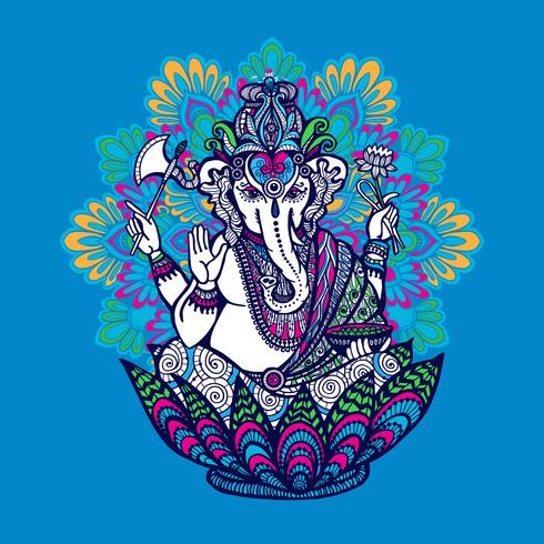 Ganesha med utsmyckad Mandala vektor