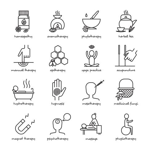 Alternative Medizin Icons Set vektor