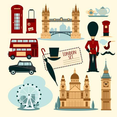 London touristisches Set vektor