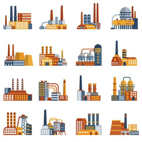 Fabriks Flat Icons Set vektor