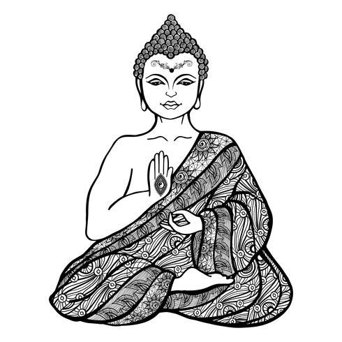 Dekorativ Buddha skiss vektor