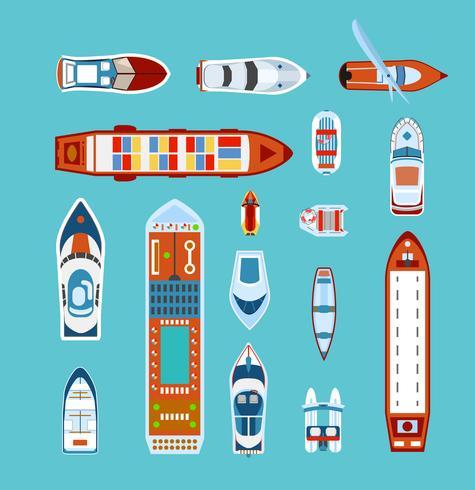 Fartygsöversikt Plana ikoner vektor