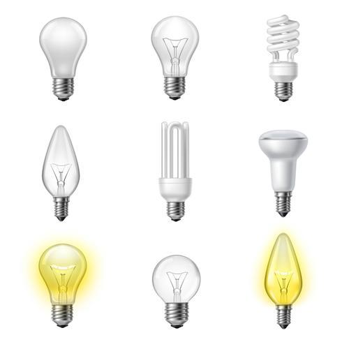 Olika typer av realistiska lightbulbs set vektor