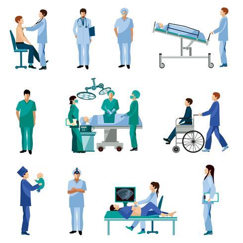 Flache Ikonen der medizinischen Berufsleute eingestellt vektor