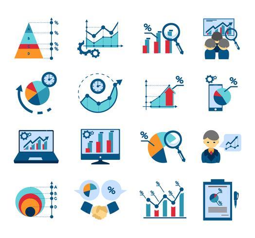 Dataanalys platt ikoner samling vektor