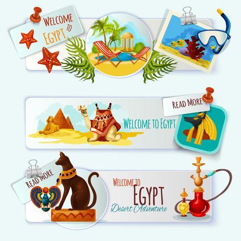 Egypten Touristic Banner Set vektor