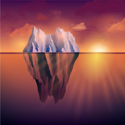Isberg På Solnedgången vektor