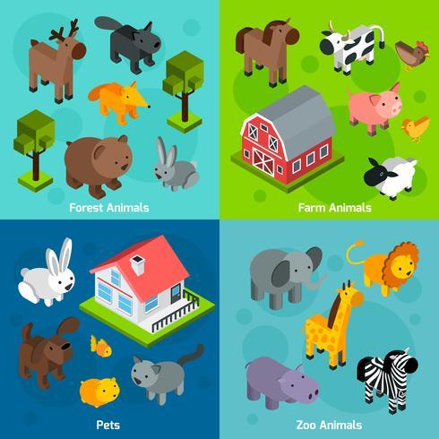 isometriska djur sätts vektor