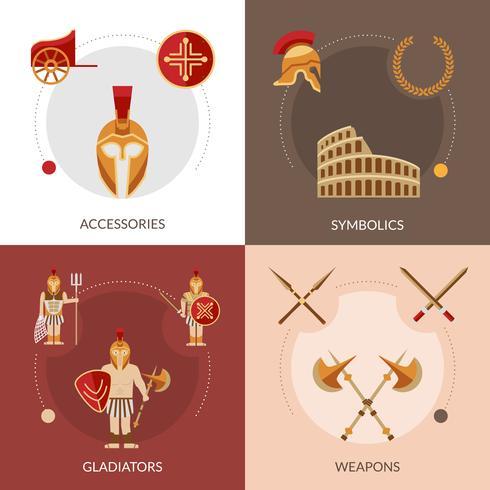 gladiator platt uppsättning vektor