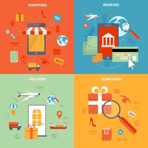 M-Commerce und Einkaufsikonen eingestellt vektor