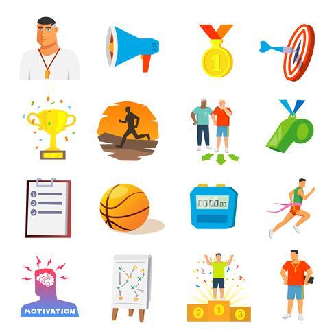 Coaching und Sport flache Ikonen vektor