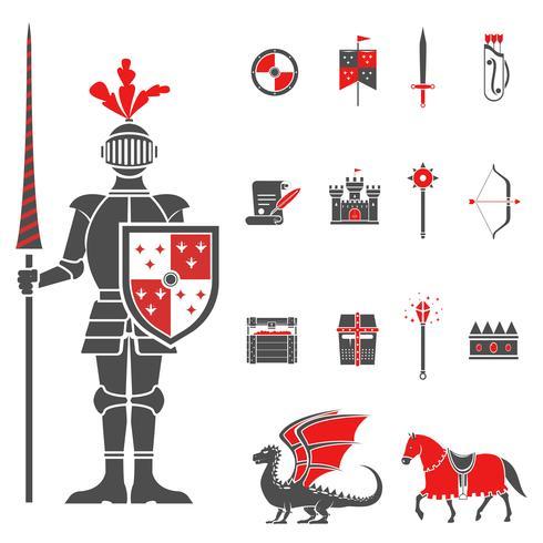 Medeltida riddare svart röd ikoner uppsättning vektor