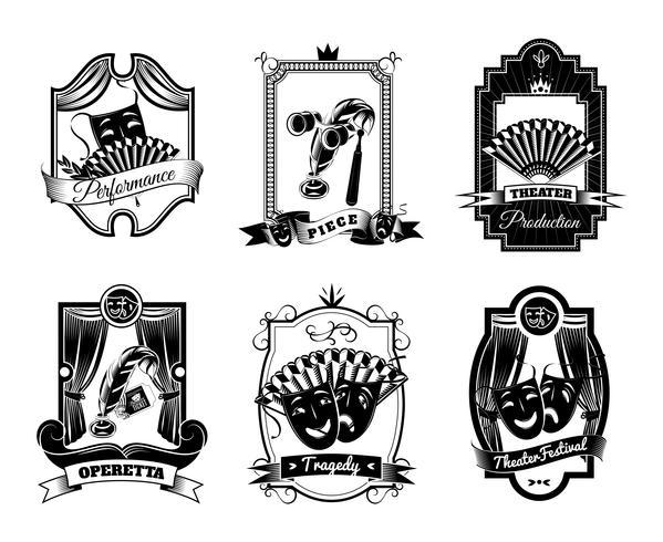 teater svart vit emblems set vektor