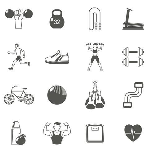 Fitness schwarze Icons Set vektor
