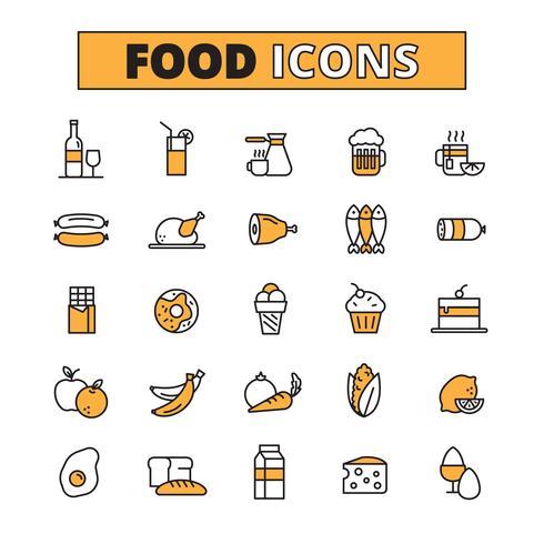 Lebensmittel und Getränk Linie Icons Set vektor