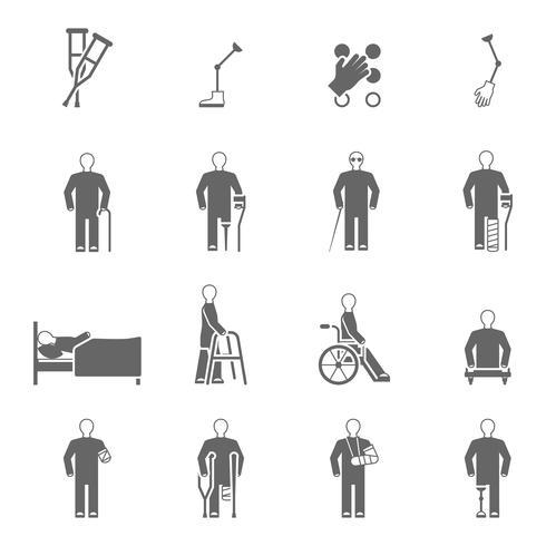Behinderte Menschen Icons Set vektor
