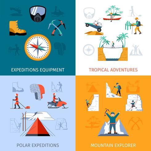 expedition platt uppsättning vektor