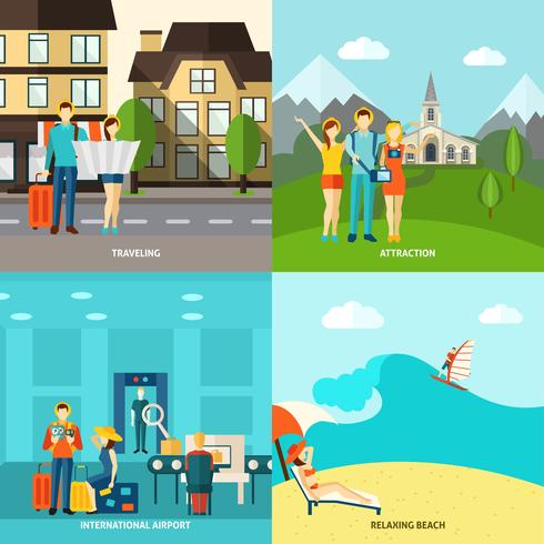 Turism 4 platta ikoner kvadratiska banderoll vektor