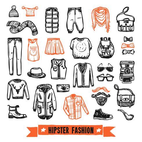 Mode kläder hipster doodle ikoner set vektor