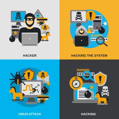 hacker platt set vektor
